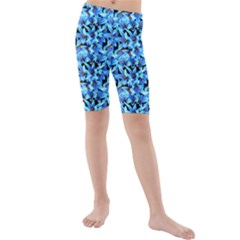 Turquoise Blue Abstract Flower Pattern Kid s Mid Length Swim Shorts by Costasonlineshop
