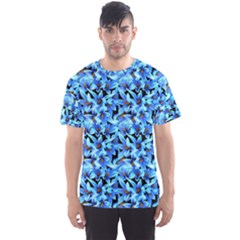 Turquoise Blue Abstract Flower Pattern Men s Sport Mesh Tees by Costasonlineshop