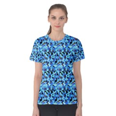 Turquoise Blue Abstract Flower Pattern Women s Cotton Tee by Costasonlineshop