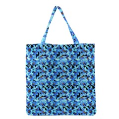 Turquoise Blue Abstract Flower Pattern Grocery Tote Bags by Costasonlineshop