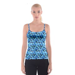 Turquoise Blue Abstract Flower Pattern Spaghetti Strap Tops by Costasonlineshop