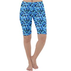 Turquoise Blue Abstract Flower Pattern Cropped Leggings by Costasonlineshop