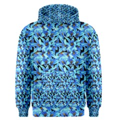 Turquoise Blue Abstract Flower Pattern Men s Pullover Hoodies