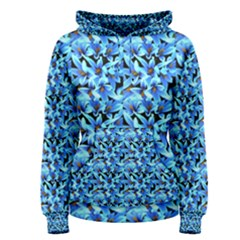 Turquoise Blue Abstract Flower Pattern Women s Pullover Hoodies