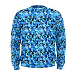 Turquoise Blue Abstract Flower Pattern Men s Sweatshirts by Costasonlineshop