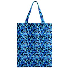 Turquoise Blue Abstract Flower Pattern Zipper Classic Tote Bags by Costasonlineshop