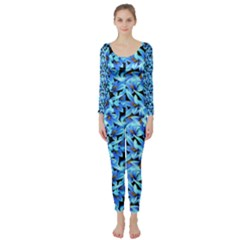 Turquoise Blue Abstract Flower Pattern Long Sleeve Catsuit by Costasonlineshop