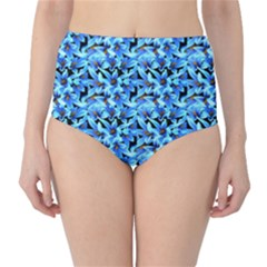 Turquoise Blue Abstract Flower Pattern High Waist Bikini Bottoms by Costasonlineshop