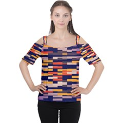 Rectangles In Retro Colors Women s Cutout Shoulder Tee