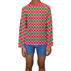 Red pink green rhombus pattern  Kid s Long Sleeve Swimwear by LalyLauraFLM