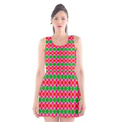 Red Pink Green Rhombus Pattern Scoop Neck Skater Dress