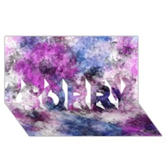 Shabby Floral 2 Sorry 3d Greeting Card (8x4)