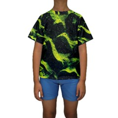 Green Northern Lights Kid s Short Sleeve Swimwear