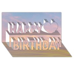 Yellow Blue Pastel Sky Happy Birthday 3d Greeting Card (8x4)  by Costasonlineshop