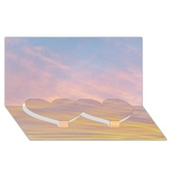 Yellow Blue Pastel Sky Twin Heart Bottom 3d Greeting Card (8x4)  by Costasonlineshop