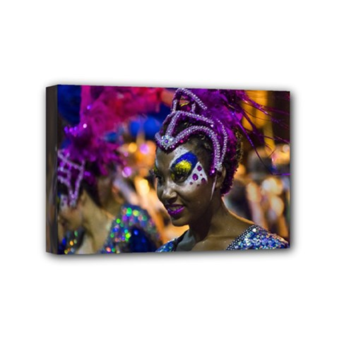 Costumed Attractive Dancer Woman At Carnival Parade Of Uruguay Mini Canvas 6  X 4  by dflcprints
