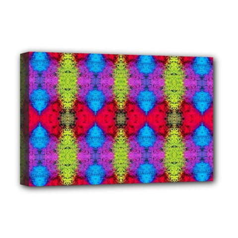 Colorful Painting Goa Pattern Deluxe Canvas 18  X 12   by Costasonlineshop