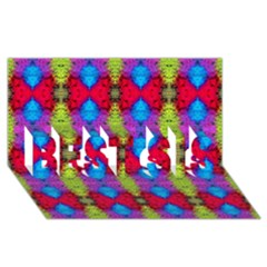 Colorful Painting Goa Pattern Best Sis 3d Greeting Card (8x4)