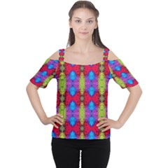 Colorful Painting Goa Pattern Women s Cutout Shoulder Tee