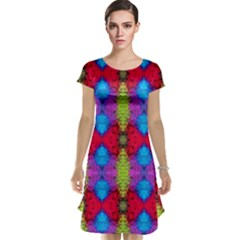 Colorful Painting Goa Pattern Cap Sleeve Nightdresses