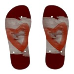 Bright Red Watercolor Hearts Love - Women s Flip Flops