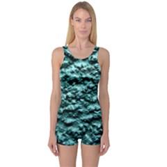 Green Metallic Background, One Piece Boyleg Swimsuit