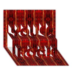 Red Gold, Old Oriental Pattern You Rock 3d Greeting Card (7x5)  by Costasonlineshop