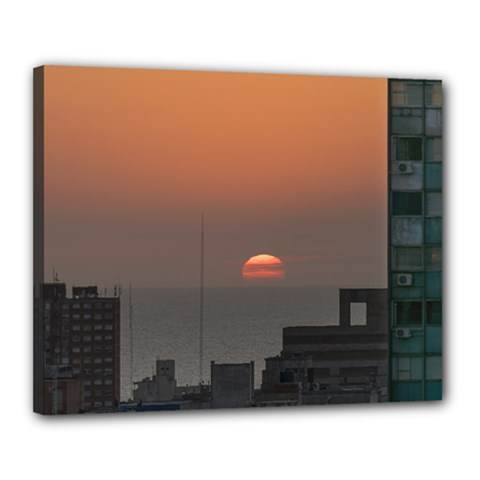 Aerial View Of Sunset At The River In Montevideo Uruguay Canvas 20  x 16  by dflcprints