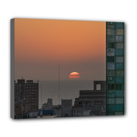 Aerial View Of Sunset At The River In Montevideo Uruguay Deluxe Canvas 24  X 20   by dflcprints