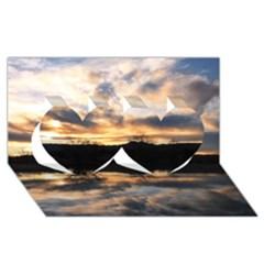 Sun Reflected On Lake Twin Hearts 3d Greeting Card (8x4)