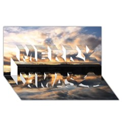 Sun Reflected On Lake Merry Xmas 3d Greeting Card (8x4)
