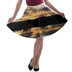 Sun Reflected On Lake A Line Skater Skirt