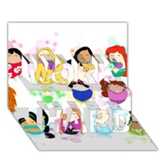 Disney Ladies Work Hard 3d Greeting Card (7x5)