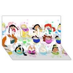 Disney Ladies Merry Xmas 3d Greeting Card (8x4)