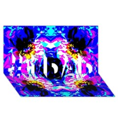 Animal Design Abstract Blue, Pink, Black #1 Dad 3d Greeting Card (8x4)  by Costasonlineshop