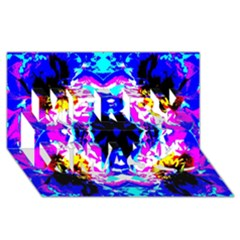 Animal Design Abstract Blue, Pink, Black Merry Xmas 3d Greeting Card (8x4)  by Costasonlineshop