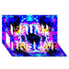 Animal Design Abstract Blue, Pink, Black Laugh Live Love 3d Greeting Card (8x4)  by Costasonlineshop
