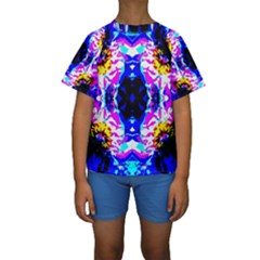 Animal Design Abstract Blue, Pink, Black Kid s Short Sleeve Swimwear