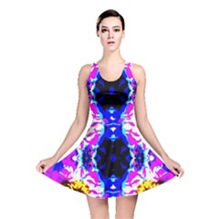 Animal Design Abstract Blue, Pink, Black Reversible Skater Dresses by Costasonlineshop