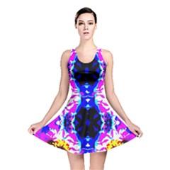 Animal Design Abstract Blue, Pink, Black Reversible Skater Dresses