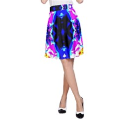 Animal Design Abstract Blue, Pink, Black A Line Skirt by Costasonlineshop