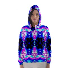 Animal Design Abstract Blue, Pink, Black Hooded Wind Breaker (women)