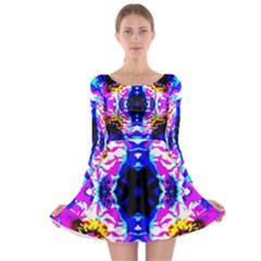 Animal Design Abstract Blue, Pink, Black Long Sleeve Skater Dress