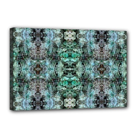 Green Black Gothic Pattern Canvas 18  x 12  by Costasonlineshop
