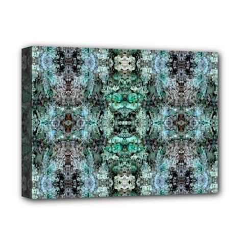 Green Black Gothic Pattern Deluxe Canvas 16  x 12   by Costasonlineshop