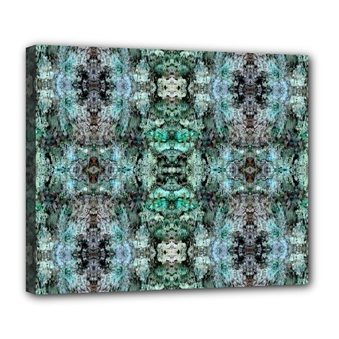 Green Black Gothic Pattern Deluxe Canvas 24  X 20   by Costasonlineshop