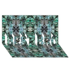 Green Black Gothic Pattern BEST BRO 3D Greeting Card (8x4)  by Costasonlineshop