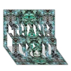 Green Black Gothic Pattern Thank You 3d Greeting Card (7x5)  by Costasonlineshop