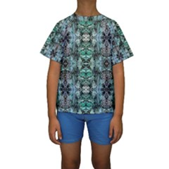 Green Black Gothic Pattern Kid s Short Sleeve Swimwear by Costasonlineshop