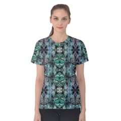 Green Black Gothic Pattern Women s Cotton Tee by Costasonlineshop